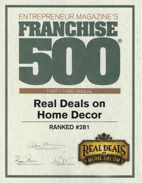 Real Deals Home Decor Franchise Awards  Real Deals On Home Decor