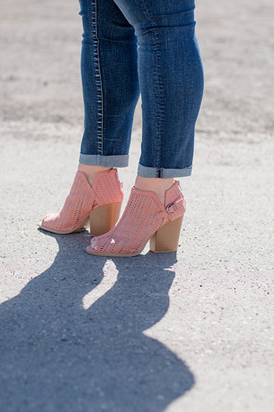 Blush Wooden Heel, Peep Toe Shoes | Real Deals