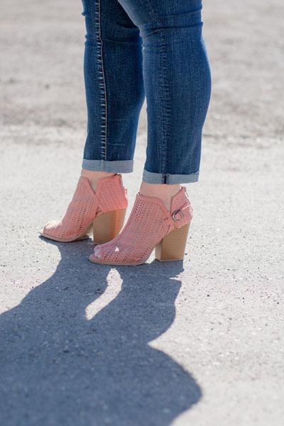 Blush Wooden Heel, Peep Toe Shoes | Real Deals